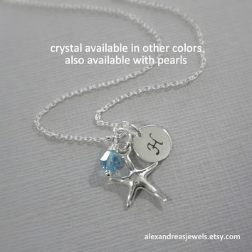 Starfish Necklace, Sterling Silver Starfish and Aquamarine Crystal Necklace, Bridesmaid Jewelry, Bridesmaid Gift, Will You Be My Bridesmaid