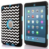 ROKE Chevron iPad Mini Cases, Dual Layer Hybrid Armor Defender Case Cover for iPad Mini 1/2/3 - Blue