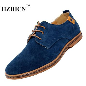 Men's Cow Splite Leather Shoes Plus Size Casual Oxfords Soft and Comfortable Hombre Zapatos High Quality Fashion Flats Hot Sale
