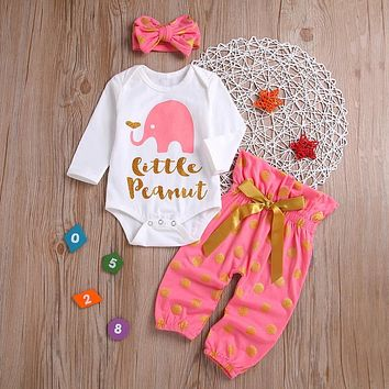 """Little Peanut"" Baby Girls Elephant Print Set"
