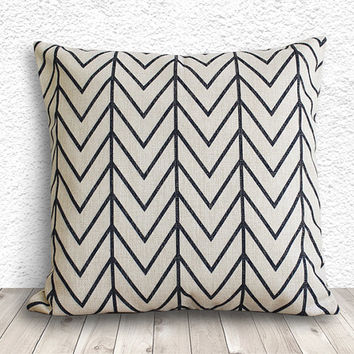 Pillow Cover, Pillow Case, Cushion Cover, Linen Pillow Cover 18x18 - Printed Geometric - 040