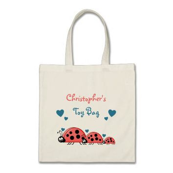 Ladybirds personalized toy tote bag