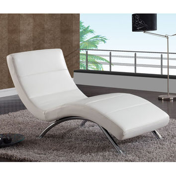 Global Furniture USA R820 Leather Chaise Lounge in White