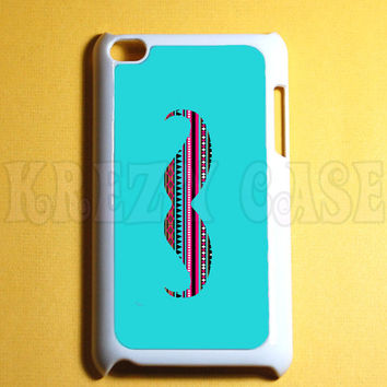 iPod Touch 4 Case Mustache with aztec pattern  Ipod 4G Touch Case, 4th Gen Ipod Touch Cases