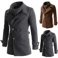 Button and Zip Men Casual Wool Coat