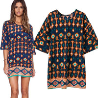 Women's Fashion Three-quarter Sleeve Vintage Print One Piece Dress [4914968772]