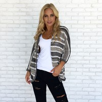 Pencil Shade Stripe Knit Cardigan