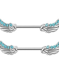 Angel Wings with Lined CZ's 14GA Nipple Bar Barbells Rings - Sold as a Pair (Aqua)
