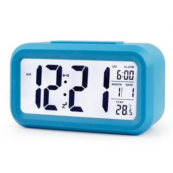 ZHPUAT Morning Clock,Low Light Sensor Technology,Light On Backlight When Detect Low Light,Soft Light That Won't Disturb The Sleep,Progressively Louder Wakey Alarm Wake You Up Softly.Color Blue