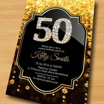 Elegant Gold Birthday Invitation Glam Black Design Invitat