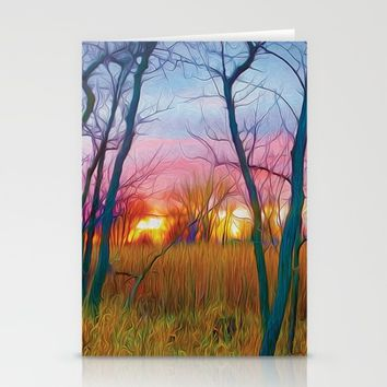 Wetland Sunset Stationery Cards by Heidi Haakenson