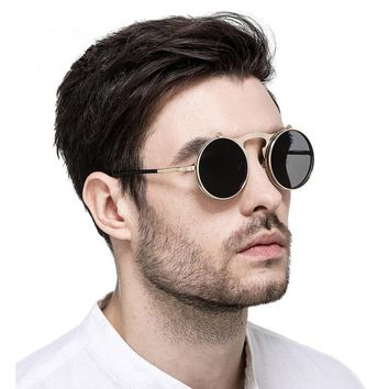 KUJUNY Retro Metal Punk Steam Flip Sunglasses Round Designer Mirror Frames Sun Glasses Vintage Men Women's Steampunk Eyewears