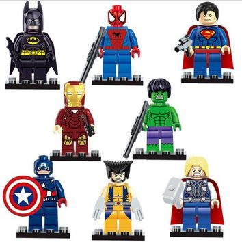 8pcs/lot The Avengers Figures Super Heroes Building Blocks Mini Figures Set Batman Spiderman Superman Ironman Hulk Thor Figures