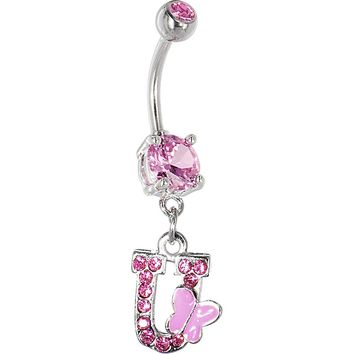 "Pink Gem Butterfly INITIAL Dangle Belly Ring - LETTER ""U"""