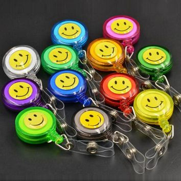 Smiling Face 20Pcs Retractable Pull Key ID Card Clip ID Badge Lanyard Name Tag Card Holder Recoil Reel For School Office Company