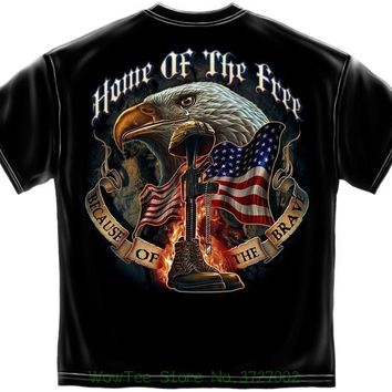 100 Best Home Of The Free Because Of The Brave Licensed T-shirt Patriotic Usa Military Hot Cheap Men's