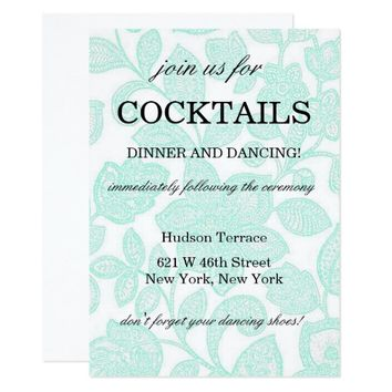 Turquoise Art Flowers Cocktails Invitation