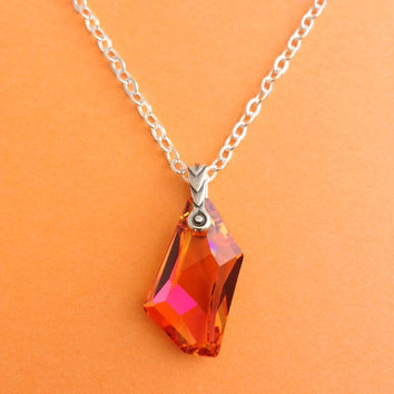 Swarovski Crystal Necklace - orange drop pendant w/ shades of pink, red & fuchsia on a delicate silver plated chain. Holiday Gift, Simple