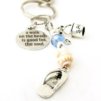 Sand Pail Keychain, Beach Keychain, Seashell Keychain, Walk on the Beach Keychain, Shell & Pail Keychain, Car Accessory
