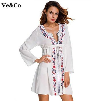 33158cc686d Cover ups Bikini VE CO Floral Printed Swimsuit Women Kaftan Beach Tunic  Dress 2018 Summer New Robe