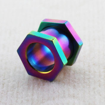 Rainbow Anodized Stainless Steel Hexagon Screw Fit Flesh Tunnel Ear Plug