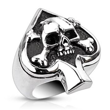 Spade Ace Crossbone Death Skull Cast Ring Stainless Steel