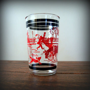 "5 RETRO KITCHEN GLASSES Cool Black and Red Mid Century Drinking Glass Set featuring the ""Gay Nineties"" Horse and Buggies Modern Barware"
