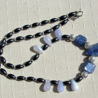 "Crystal Gemstone Necklace - Blue Kyanite, Chalcedony & Hematite ""Polar Ice"""