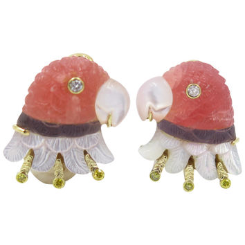LILLIAN OSTERGARD Carved Tourmaline, Mother of Pearl & Diamond Parrot Earrings.