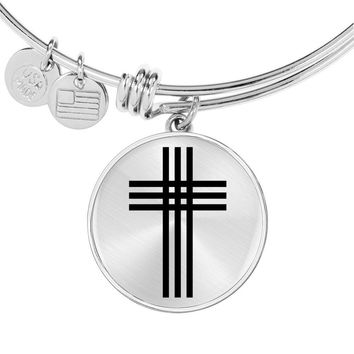 Stylized Cross - Bangle Bracelet