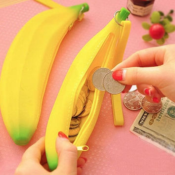 Women Fashion Silicone Cartoon Banana Coin Pencil Case Ladies Wallet Purse Pouch Gift 1PC = 1651427780