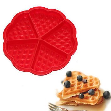 5-Cavity Waffles Cake Chocolate Pan Silicone Mold Safety Baking Mould Fancy 3C