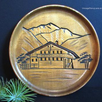 Vintage Carved Wood Plate, Wall Hanging, Chalet Mountains Carving, Handmade Folk Art, Boho / Bohemian Decor