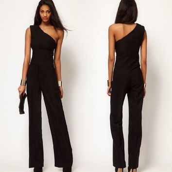 Women Black One Shoulder Sexy Jumpsuit Bell-bottoms Loose Overall Pants S-XXL