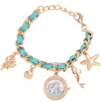 Licensed cool Disney Ariel Little Mermaid Sketch Shell Jewels Charms Bracelet Watch Licensed