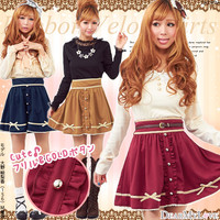 Velor skirt with ribbon ♪ princess ruffle placket flared skirt