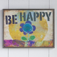 Be  Happy  Big  Bungalow  Art  From  Natural  Life