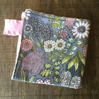 Baby Girl Lovey Blanket, Gray and Pink Small Security Blanket, Small Minky Blanket, Floral Blanket, Baby Girl Gift, Baby Shower Girl