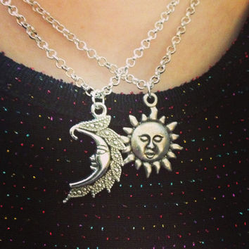 Me and the Moon - Silver Sun and Moon Friendship Necklaces - From Traditionalheart - SET OF 2