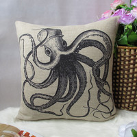 Cotton Linen Simple Black Octopus Throw Pillow Cover