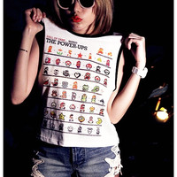 Vintage Super Mario Shirt Women Tank Top Girl Sexy Summer Sideboob Size S, M, L