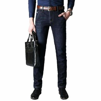 2018 SenlinJeep  Brand youth plus velvet thick high waist loose business jeans men warm straight jeans large size joggers