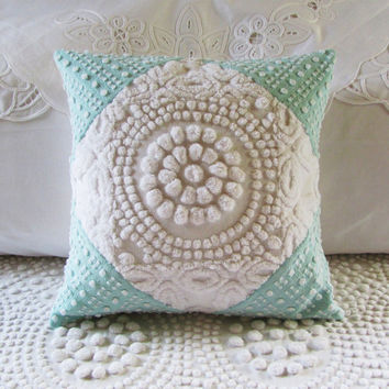 vintage chenille pillow cover WHITE TARGET by moreChenilleChateau