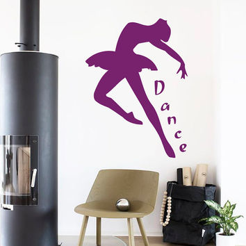Dance Wall Decals Wall Words Dancer Decal Ballerina Stickers Ballet Studio Decor Home Vinyl Decal Sticker Girl Nursery Baby Room Decor kk756