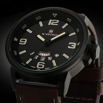 Men Analog Quartz Date Sport Army Leather Wrist Watch Waterproof Watches