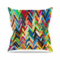 "Frederic Levy-Hadida ""Chevrons"" Rainbow Outdoor Throw Pillow"