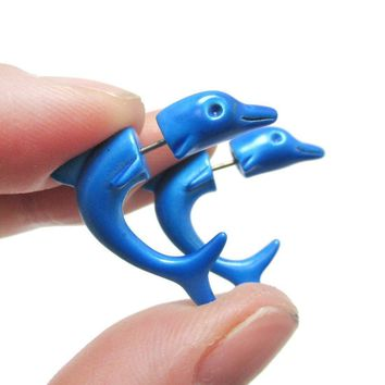 Small Blue Dolphin Sea Animal Shaped Front and Back Stud Earrings