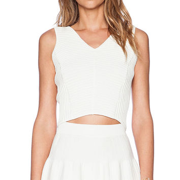 Sam Edelman Cropped Ottoman V-Neck Top in Ivory