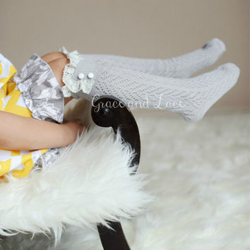 Lil Dainties - dove grey lacey open-knit girls boot socks w/ knit lace trim and buttons - legwarmers - lace socks