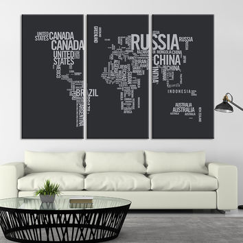 Large Triptych Art Typography World Map Canvas Print, Large Type World Map  Wall Art, Text World Map Canvas Print, Retro World Map Wall Art - T1
